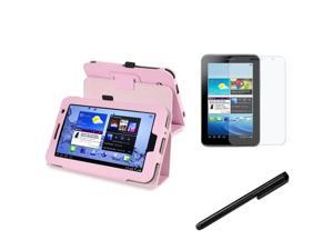 eForCity Anti-Glare Screen Protector + Black Universal Touch Screen Stylus + Pink Leather Case with Stand Bundle Compatible ...
