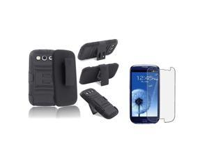 eForCity Black Stand Holster Hybrid Case + Anti-Glare LCD Cover compatible with Samsung©: Galaxy SIII / S3