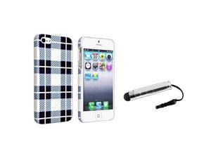 eForCity Checker Style 2 Snap-on Rubber Coated Case + Silver Universal Mini Stylus Bundle Compatible With Apple® iPhone 5