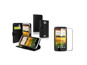 eForCity Black Leather Hard Case Cover Wallet Booktype+Film LCD Compatible with HTC One X XL