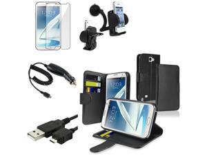 eForCity Black Leather Wallet Case with Card Holder + Black Car Charger (Micro USB) + Black USB Data/Charging Cable (Micro ...