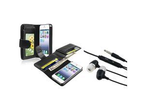 eForCity Black Leather Case with Wallet with FREE Black In-ear (w/ on-off) Stereo Headsets Compatible with Apple® iPhone ...