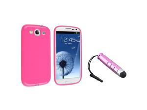 eForCity Hot Pink Jelly TPU Rubber Skin Case + Pink Universal Mini Stylus Bundle Compatible With Samsung© Galaxy SIII/S3