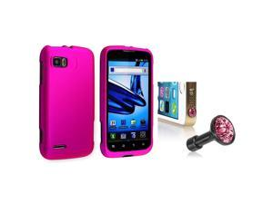eForCity Hot Pink Snap-in Rubber Coated Case with FREE Pink Diamond Headset Dust Cap Compatible with Motorola Atrix 2 MB865
