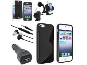 eForCity iPhone 5 Accessories Bundle - Case, Privacy Filter, Headset, Car Charger, Holder