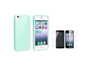 eForCity Mint Green Jelly TPU Cover Case Skin+2x Clear Guard Compatible with iPhone 5 / 5S 5th 5G