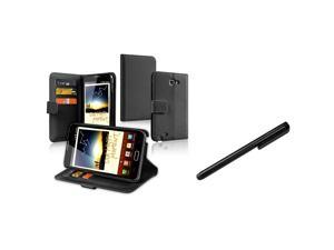 eForCity Wallet Leather Pouch Black Case Cover + Black Touch Stylus For Samsung© Galaxy Note N7000