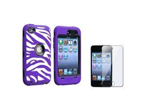 eForCity Black Hard / White and Purple Zebra Skin Hybrid Case with FREE Reusable Screen Protector compatible with Apple® ...