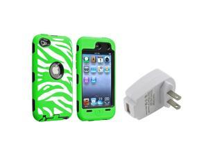 eForCity Black Hard / White and Green Zebra Skin Hybrid Case with 1 White Home/Wall Charger Adapter compatible with Apple® ...