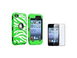 eForCity Black Hard / White and Green Zebra Skin Hybrid Case with FREE Reusable Screen Protector compatible with Apple® iPod ...