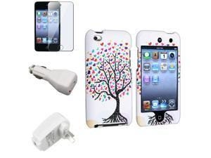 eForCity White Love Tree Cover Case + LCD Guard + Wall + White Car Charger For iPod touch® 4