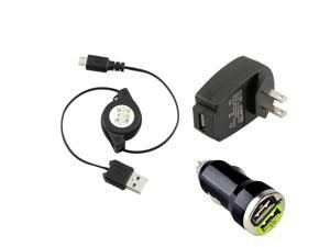 eForCity Micro USB (2-in-1) Retractable Black Cable and Black USB Travel Charger Adapter Free With 2-Port USB Mini Car Charger ...