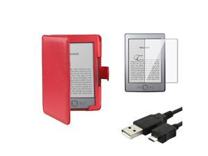 "eForCity Red Leather Case Cover Folio + Screen Protector + USB Cable For Amazon Kindle 4 5 th 6"" E-reader"
