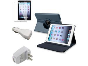 eForCity 4 Accessory Navy Blue 360 Swivel Leather Case AC Car Charger compatible with Apple iPad Mini 1 / Apple iPad Mini ...