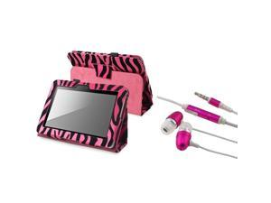 Hot Pink Zebra Leather Case Cover With Stand + Pink In-ear (w/on-off) Stereo Headsets compatible with Amazon Kindle Fire ...