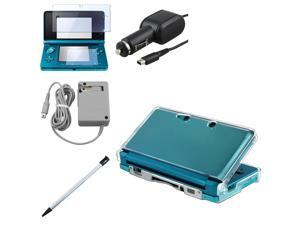 eForCity For Nintendo 3DS Clear Hard Case + 2-LCD Kit Guard + Pen + AC Wall + Car Charger