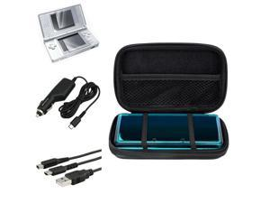 eForCity Black Lite Eva Case + 2-LCD Kit Screen Protector + Black Charging Cable Bundle Compatible With Nintendo DS Lite