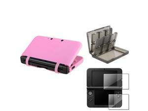 eForCity Pink Rubber Case Cover + Smoke 28in1 Card Case Cover + 2-LCD Screen Film Compatible With Nintendo 3DS XL