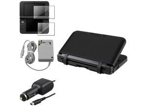 eForCity Black Rubber Skin Case+2-LCD Screen Film+AC Wall+Car Charger For Nintendo 3DS XL