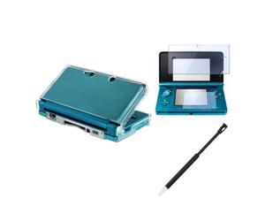 eForCity Clear Crystal Case Cover+2-LCD Film+2x Black Retractable Stylus For Nintendo 3DS
