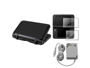 eForCity Gray Travel Charger + 2-LCD Kit Reusable Screen Protector + Black Silicone Skin Case Bundle Compatible With Nintendo ...