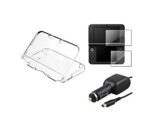 eForCity Clear Crystal Case Cover+2-LCD Screen Protector+Car Charger For Nintendo 3DS XL