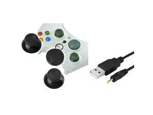 eForCity Wireless Headset Charging Cable +Black Controller Thumb Joysticks with D-Pad Compatible With Microsoft Xbox 360, ...