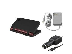 For Nintendo DSi XL Blk Silicone Case+Wall+Car Charger