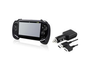 eForCity Black Hand Grip Handle+Car Charger w/USB Cable For Sony Playstation PS Vita