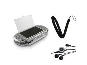 eForCity Crystal Clear Hard Cover Case+Headset w/Remote+Strap for SONY PSP 3000 2000 Slim