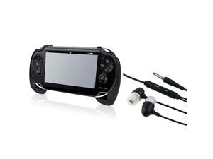 Black Hard plastic rubber coating Hand Grip + Headsets compatible with Sony PlayStation Vita
