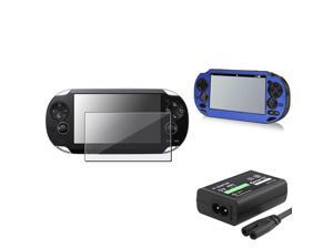 eForCity Blue Aluminum Case Cover + Screen Protector + AC Adapter US Compatible With Sony PS Vita PSV