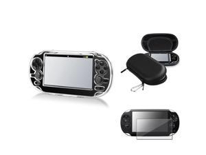 eForCity Reusable Screen Protector + Black Eva Case + Clear Snap-on Crystal Case Bundle Compatible With Sony Playstation ...