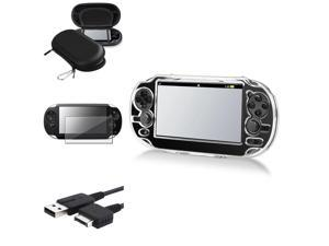 eForCity Black Eva Case + Reusable Screen Protector + Black USB Cable Bundle Compatible With Sony Playstation Vita