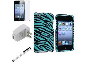 eForCity Blue/black zebra Snap-on Case + Reusable Screen Protector + White Universal USB Travel Charger Adapter Bundle Compatible ...