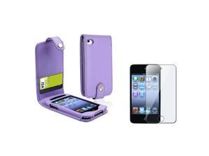 eForCity Purple Card Holder Leather Case with FREE Reusable Screen Protector Compatible With Apple® iPod touch® 4