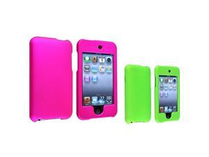 eForCity Green Cover Skin+Hot Pink Rubber Hard Case For Apple® iPod Touch 2 3 G 3rd 2nd Gen