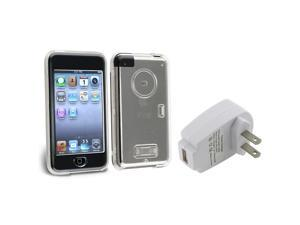 eForCity Clear Crystal Hard Case Cover+Wall Home AC Charger For Apple ipod Touch 1 1st G Gen