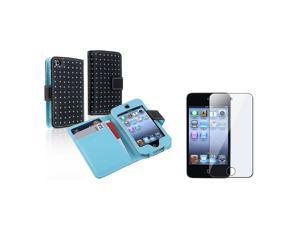 eForCity Black/Blue Dot Leather Wallet Case + 3X Reusable Screen Protector Bundle Compatible With Apple® iPod Touch 4th Generation