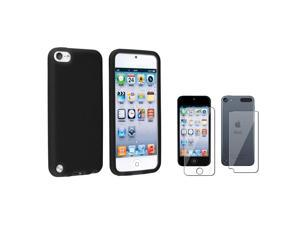 eForCity Black Silicone Case + 2-LCD Kit Reusable Screen Protector Bundle Compatible With Apple® iPod Touch 5th Generation