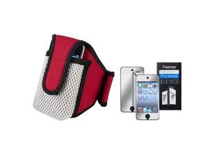 eForCity SportBand with Case + Mirror Screen Protector Bundle Compatible With Apple® iPod Touch 4th Generation