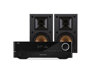 Harman Kardon HK 3700 2-Channel USB Stereo Receiver with Klipsch R-14M Reference Monitor Speakers - Pair (Black)