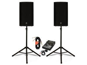 "Mackie THUMP12A Powered 12"" Speaker Pair 5 Channel Mixer with Bluetooth and Stands DJ Set 2600W Active"