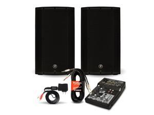 "Mackie THUMP12A Powered 12"" Speaker Pair and 5 Channel Mixer with Bluetooth DJ Set 2600 Watt Active"