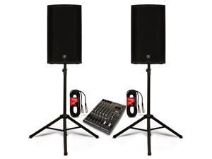"Mackie THUMP12A Powered 12"" Speaker Pair with 12 Channel Mixer and Stands DJ Set 2600 Watt Active"