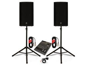"Mackie THUMP12A Powered 12"" Speaker Pair 12 Channel Mixer with Bluetooth and Stands DJ Set 2600W Active"