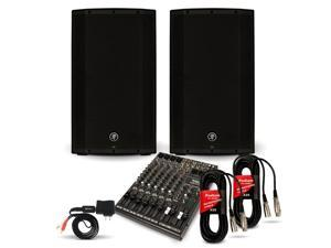"Mackie THUMP12A Powered 12"" Speaker Pair and 12 Channel Mixer with Bluetooth DJ Set 2600 Watt Active"