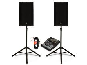 "Mackie THUMP12A Powered 12"" Speaker Pair with 8 Channel Mixer and Stands DJ Set 2600 Watt Active"