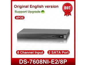 Hikvision Original Overseas English version DS-7608NI-E2/8P NVR network video recorder updatable firmware 8 PoE ports Support up to 6MP network camera with 2 SATA plug and play P&P HDMI VGA
