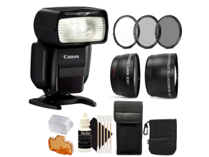 Canon Speedlite 430EX III Flash (Black) for Canon Rebel T3i T5i T6 EOS 7D 50D 80D 60D 600D 7D Mark II DSLR Cameras + 58mm UV CPL ND Kit + Telephoto & Wide Angle Lens + 3pc Cleaning Kit